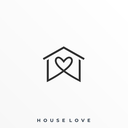 Home Love Illustration Vector Template
