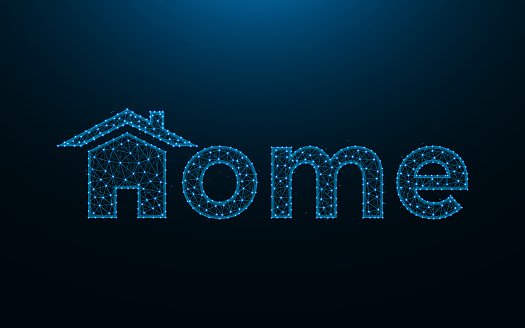 Home low poly design, house icon and word combination wireframe mesh polygonal vector illustration
