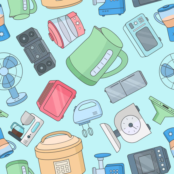 Home machines background 02-01 Home machines - Vector color background (seamless pattern) of microwave, oven, refrigerator, vacuum, blender, kettle and other appliances for graphic design dishwashing machine stock illustrations