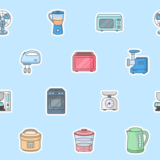 Home machines background 02-04 Home machines - Vector color background (seamless pattern) of microwave, oven, refrigerator, vacuum, blender, kettle and other appliances for graphic design dishwashing machine stock illustrations