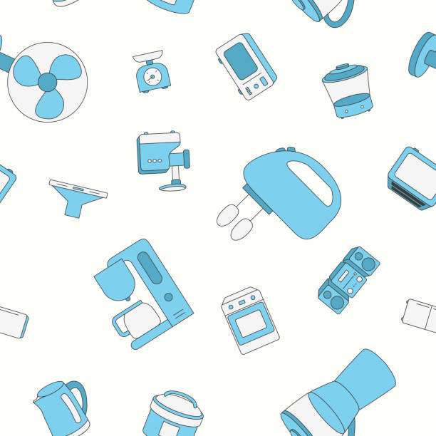 Home machines background 03-05 Home machines - Vector color background (seamless pattern) of microwave, oven, refrigerator, vacuum, blender, kettle and other appliances for graphic design dishwashing machine stock illustrations