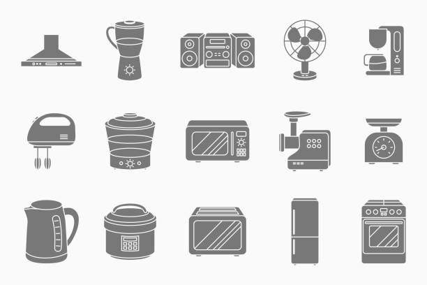 Home machines Icons set 02-05 Home machines Icons set - Vector silhouettes of microwave, oven, refrigerator, vacuum, blender, kettle and other appliances for the site or interface dishwashing machine stock illustrations