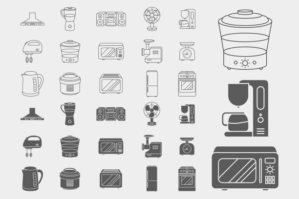 Home machines Icons set 02-06 Home machines Icons set - Vector outline symbols and silhouettes of microwave, oven, refrigerator, vacuum, blender, kettle and other appliances for the site or interface dishwashing machine stock illustrations