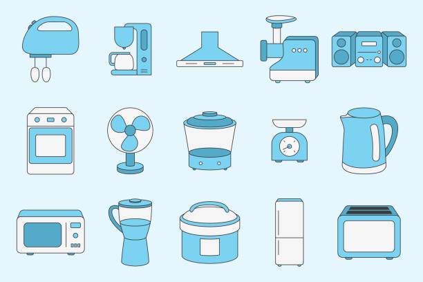 Home machines Icons set 03-02 Home machines Icons set - Vector color symbols of microwave, oven, refrigerator, vacuum, blender, kettle and other appliances for the site or interface dishwashing machine stock illustrations
