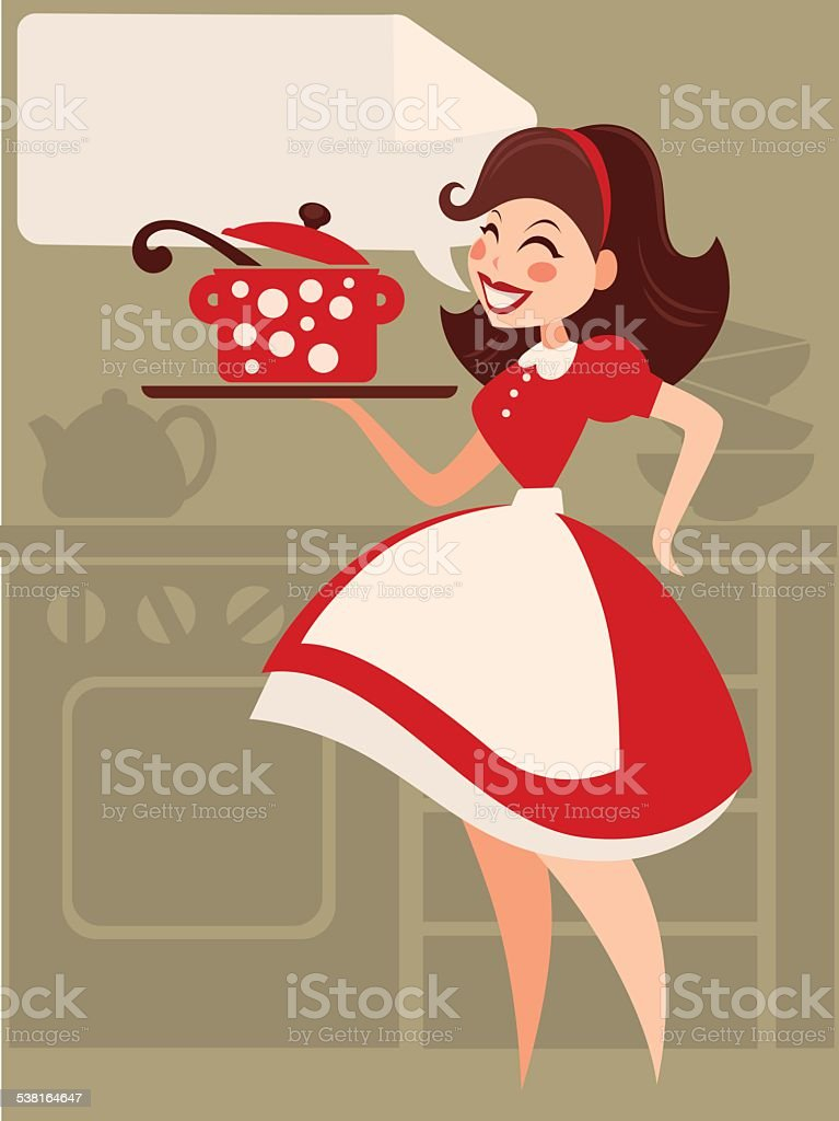 Home made cooking in retro style, vector art illustration