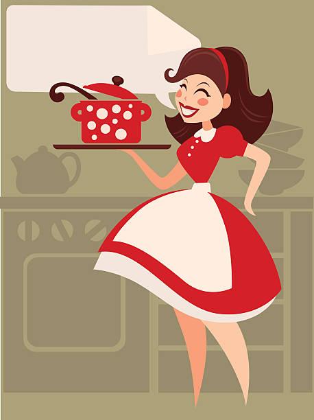 hausgemachte küche im retro-stil - hausfrau stock-grafiken, -clipart, -cartoons und -symbole