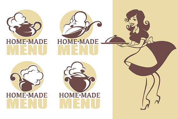home made food, vector icon, symbols collection - woman cooking stock illustrations