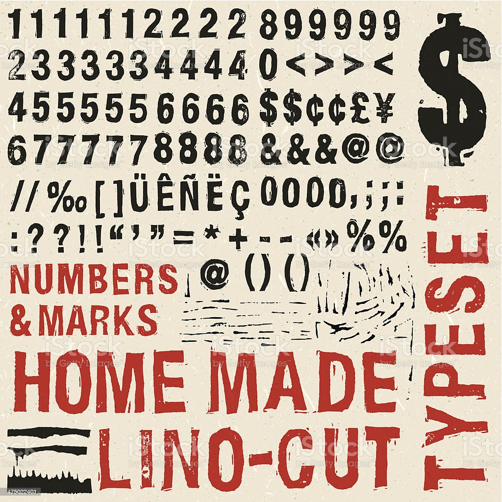 Home made woodcut numbers typeset vector art illustration