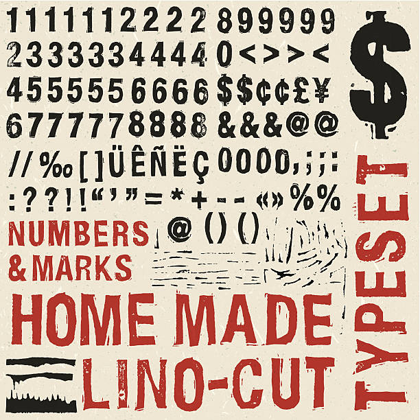 Home made woodcut numbers typeset Home made woodcut number typeset linocut stock illustrations