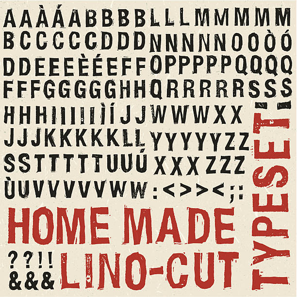 Home made woodcut typeset Home made woodcut typeset alphabet drawings stock illustrations
