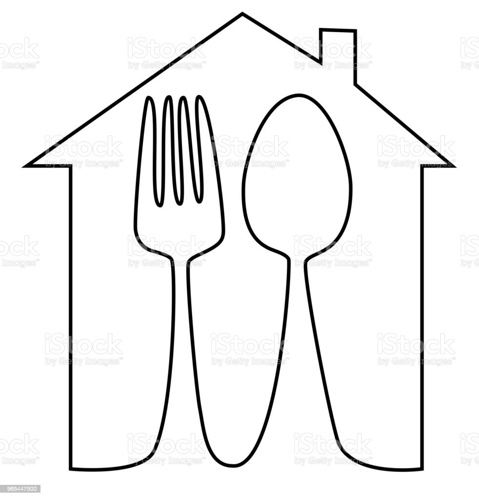 Home meal icon with spoon and fork one line drawing royalty-free home meal icon with spoon and fork one line drawing stock illustration - download image now