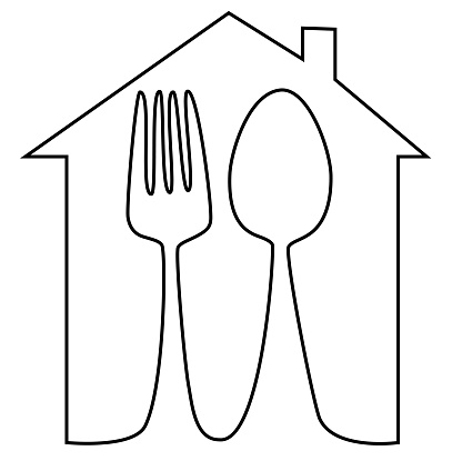 Home Meal Icon With Spoon And Fork One Line Drawing Stock Illustration - Download Image Now