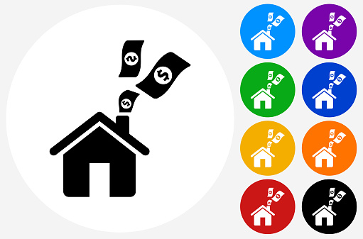Home Money Icon on Flat Color Circle Buttons