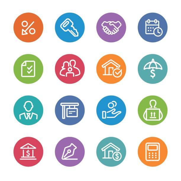 ilustraciones, imágenes clip art, dibujos animados e iconos de stock de iconos de la hipoteca - círculo línea serie - hipotecas y préstamos