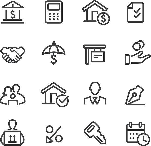 ilustraciones, imágenes clip art, dibujos animados e iconos de stock de casa mortgage iconos de línea serie - hipotecas y préstamos