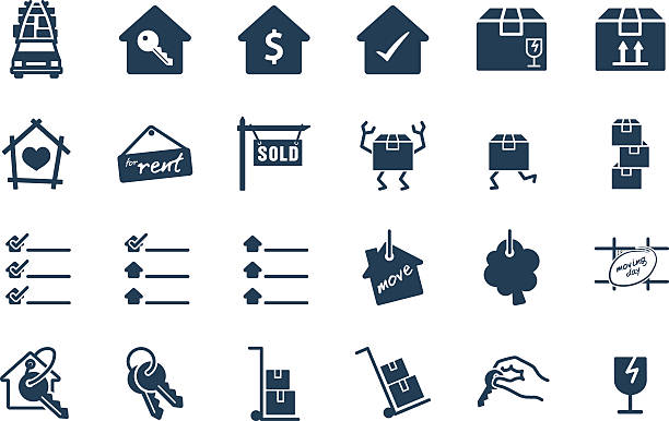 Home Move Service Vector Icon Set icon, move, delivery, key, buy, business, vector, sign, list, symbol, calendar, real estate, box, illustration, transport, web, design, home, set, fragile, house, trolley, silhouette, man, side, truck, apartment, sell, key chain, rental, tag, address, pile, service, keyring, sale, up, rent, cart, hand, happy, check list house key stock illustrations