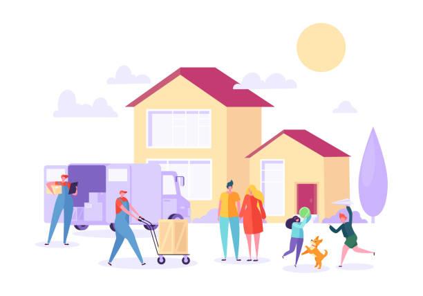 ilustrações, clipart, desenhos animados e ícones de movimento em casa com a ajuda de porter de remoção. feliz família movendo-se para nova casa, usando o serviço de courier. transporte de cargas pesadas. ilustração em vetor cartoon plana - casa nova