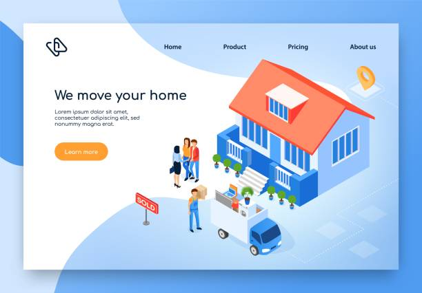 home moving company isometric vector website - sprzedawać stock illustrations
