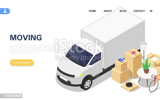 Home moving concept. A lorry and a set of packed boxes with various household items. Vector isometric illustration.