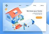 Home Moving Service Isometric Vector Website