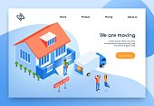 Removal Service Isometric Vector Web Banner. Happy Because Moving Couple Jumping near Their Sold House, Moving Company Worker Loading Flowerpot in Truck Illustration. Real Estate Agency Landing Page