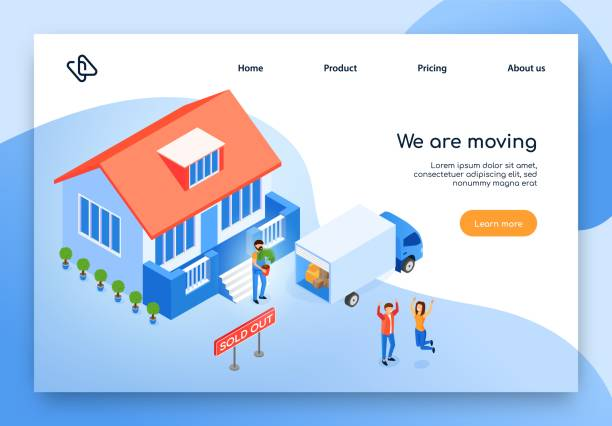 home moving service isometric vector website - new home stock illustrations