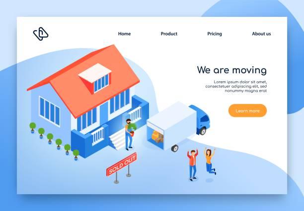 ilustrações, clipart, desenhos animados e ícones de web site movente home do vetor isométrico do serviço - casa nova