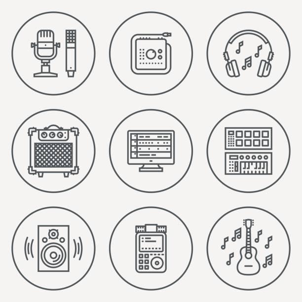 musikalischen heimstudio. linie design circle-icon-set. vektor-illustrationen. - kondensation stock-grafiken, -clipart, -cartoons und -symbole