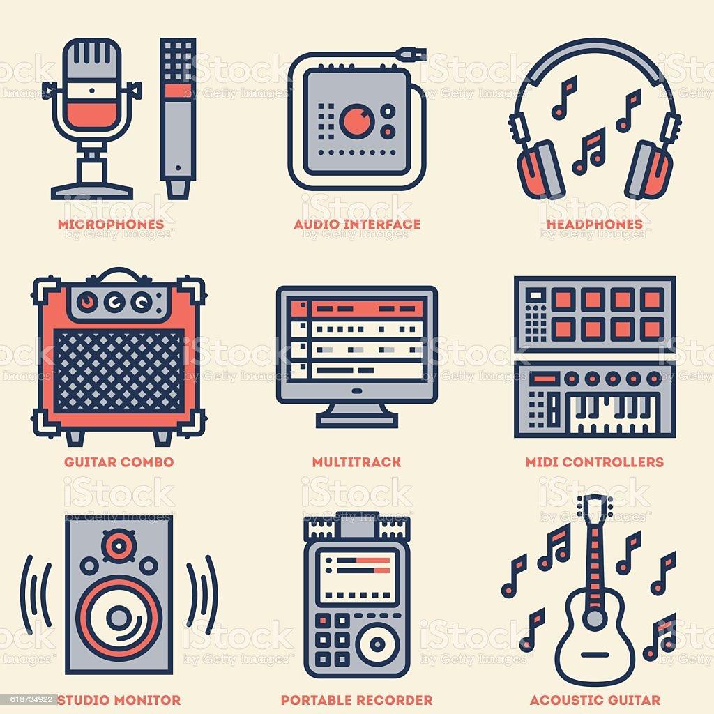 Home Musical Studio Line Design Retro Icon Set Vector Illustrations ...