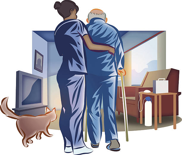 home nurse senior man - nursing home stock illustrations
