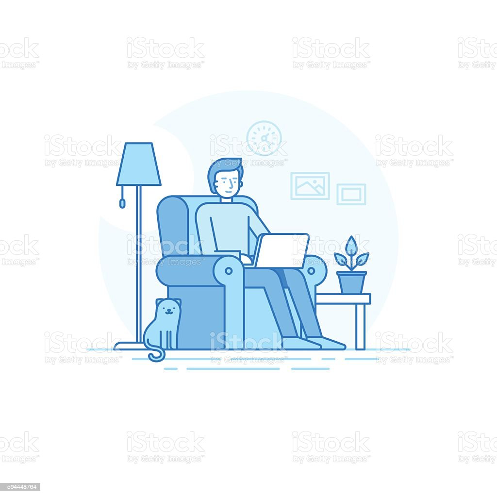 Home office and remote  freelance work concept - ilustración de arte vectorial