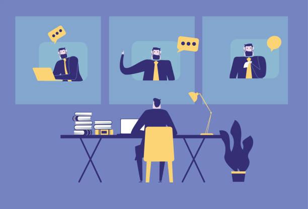 illustrazioni stock, clip art, cartoni animati e icone di tendenza di home office and video conferencing stock illustration - businessman covid mask