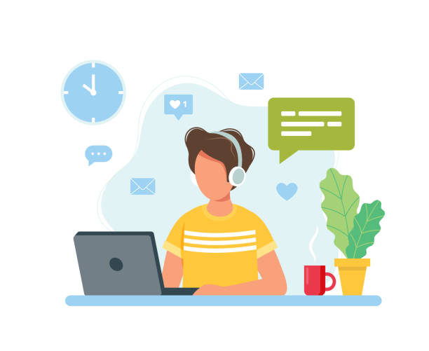 Home office concept, man working from home, student or freelancer. Cute vector illustration in flat style vector art illustration