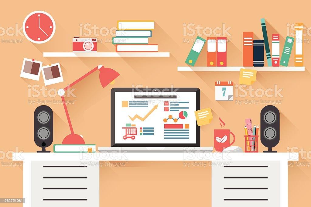 Home office desk - flat design, work desk, computer and stationery vector art illustration