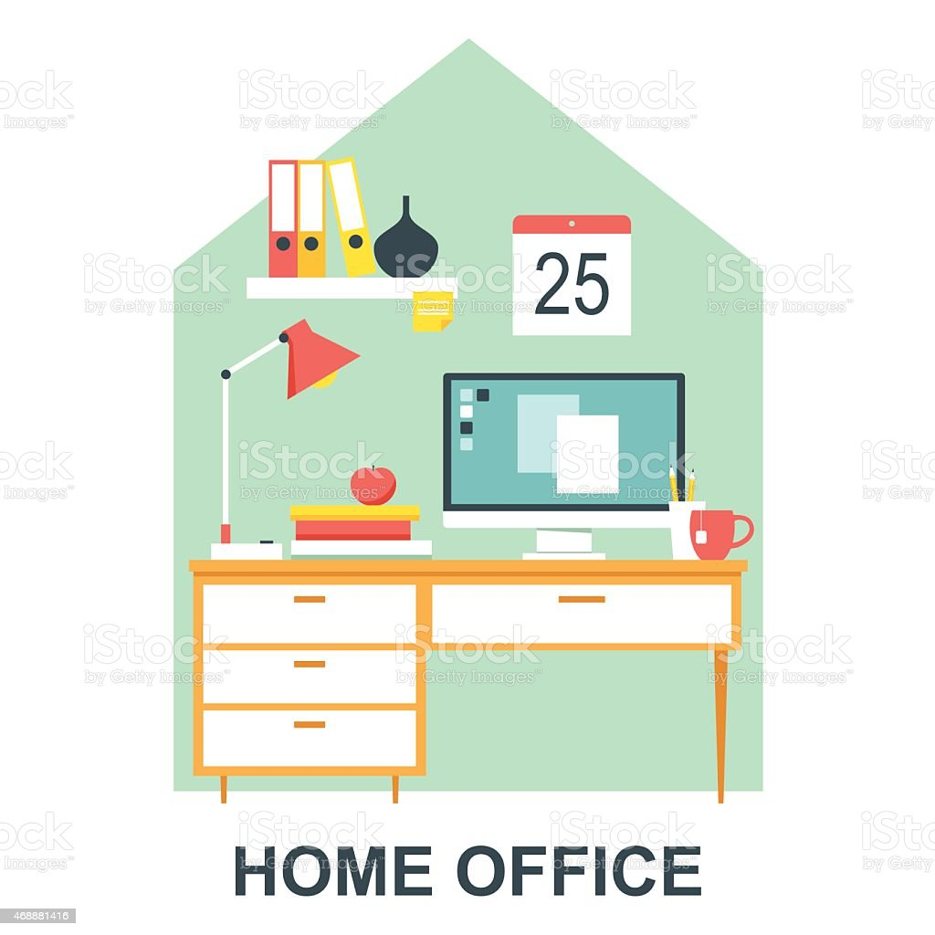 Home Office Desk vector art illustration
