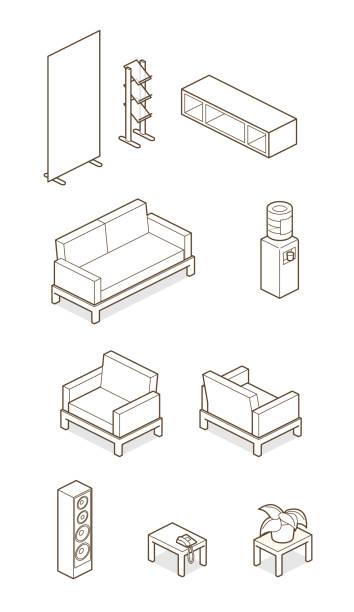 ホーム/オフィスの要素 - 椅子 家具点のイラスト素材/クリップアート素材/マンガ素材/アイコン素材