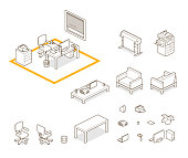 elements for home / office. 26.57° isometric