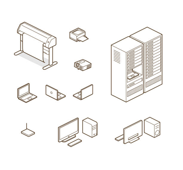 home/ office elements - computer server room stock illustrations