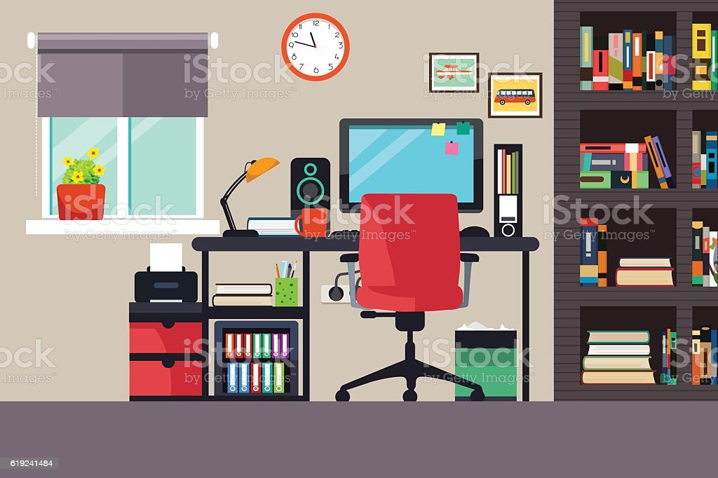 royalty free home office no people clip art vector images rh istockphoto com office clipart collection office clipart videos