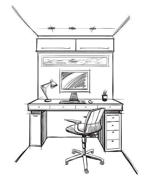 Home office interior Skizze. – Vektorgrafik