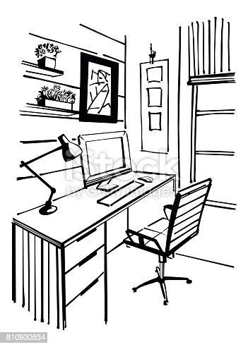 Ilustración de Boceto Interior Oficina En Casa y más banco