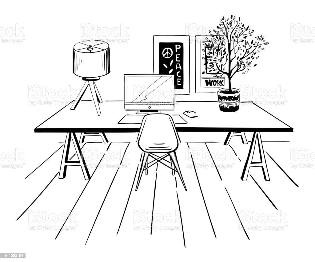 Home Office Interior Skizze Stock Vektor Art Und Mehr
