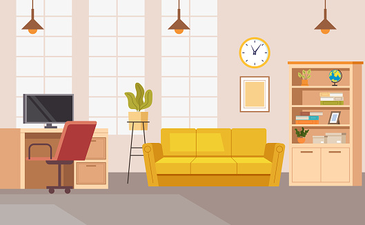 Home office interior workplace workspace concept. Vector flat graphic design illustration