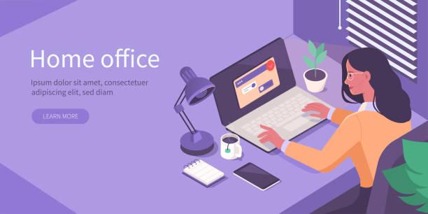 ilustrações, clipart, desenhos animados e ícones de home office isométrico - carteira