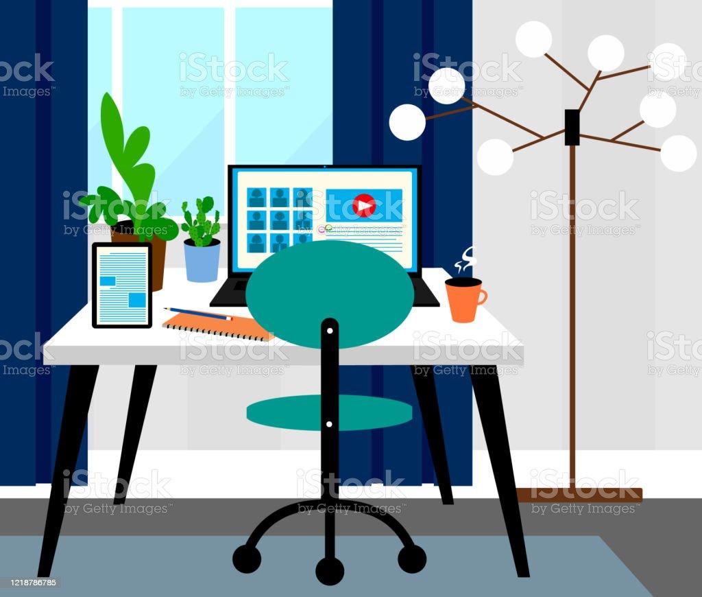 Homeofficeraum Innenarchitektur Videokonferenzen Konzept ...