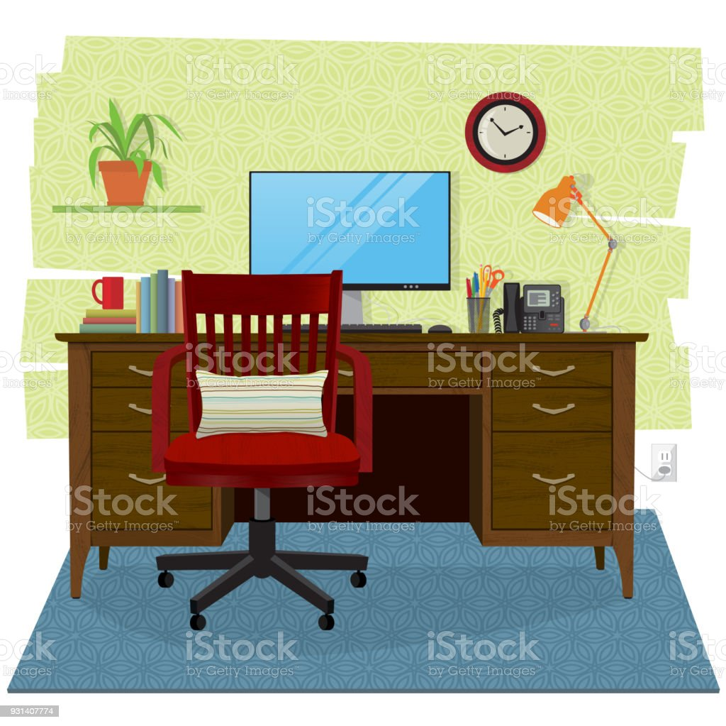 Home Office Scene With Computer Wooden Desk And Chair Stock