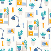 Home office seamless pattern with lamp, books, home plants, documents, wall picture, shelves on white background. Perfect for wallpaper, working from home, freelance work. Vector illustration