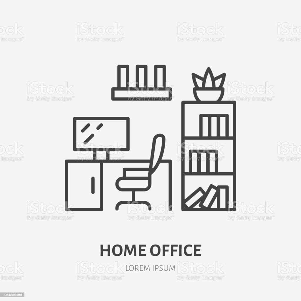 Homeoffice Studie Raum Flache Liniensymbol Wohnung Möbel Zeichen