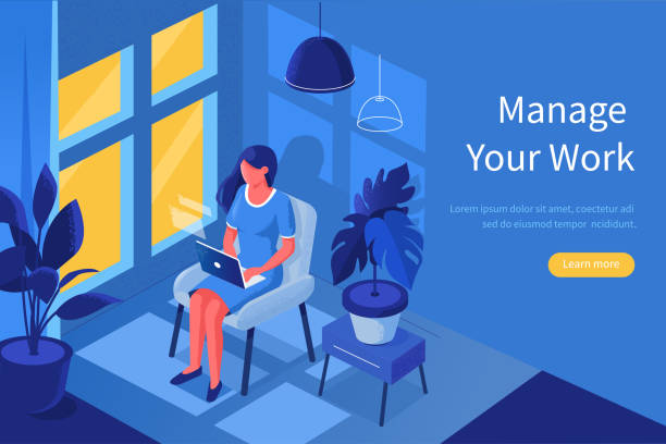 home office Woman freelancer in home office concept template. Can use for web banner, infographics, hero images. Flat isometric modern vector illustration. 20th century style stock illustrations