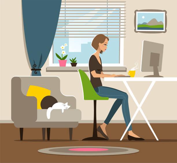 ilustrações, clipart, desenhos animados e ícones de home office - home office